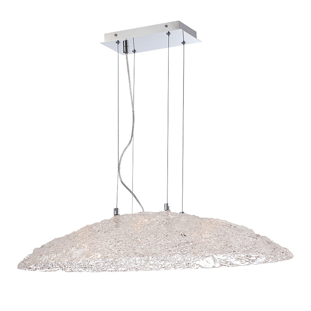 Collection Caramico, luminaire suspendu ovale chrome à 6ampoules