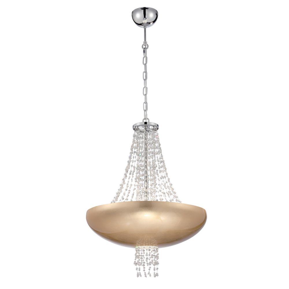 Collection Lopez, luminaire suspendu doré à 9ampoules