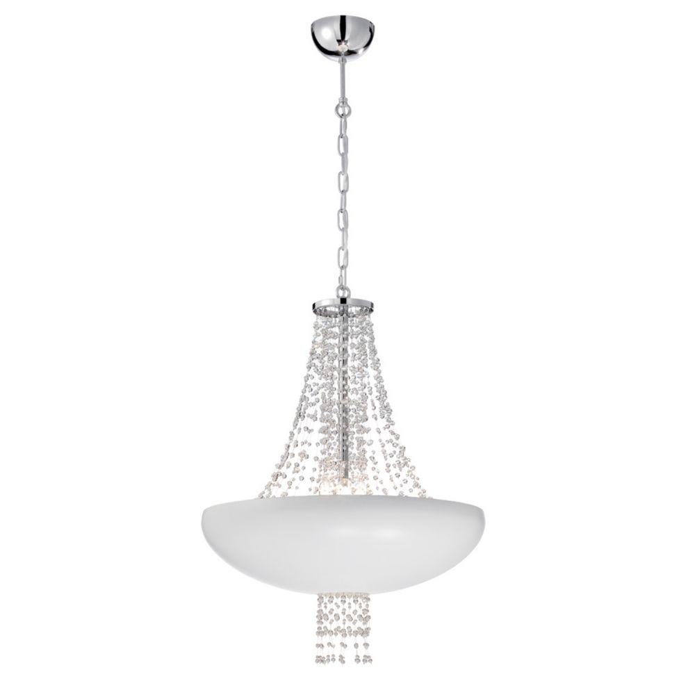 Collection Lopez, luminaire suspendu blanc à 9ampoules