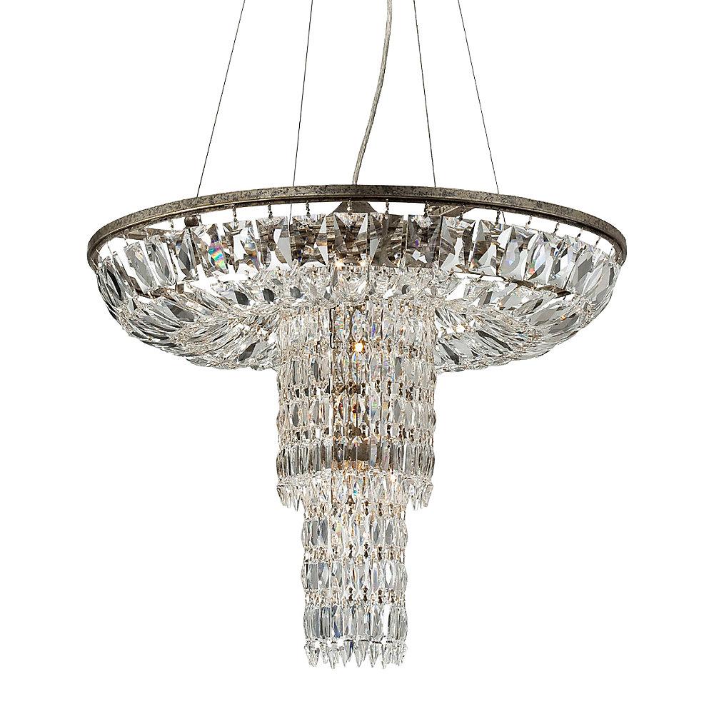 Collection Rosalia, luminaire suspendu argenté à 12ampoules