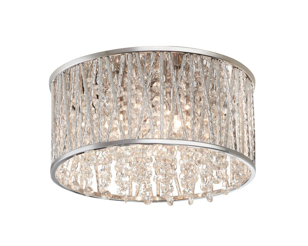 Home Decorators Collection 11.5-inch 3-Light 40W Polished Chrome and Crystal Drum Shape Flushmount Ceiling Light with Crystals