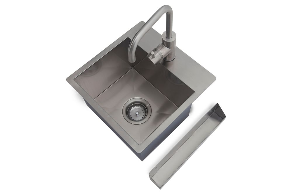 NewAge Products Home Bar 14  Inch W x 14  Inch D Sink Kit Stainless Steel Classic
