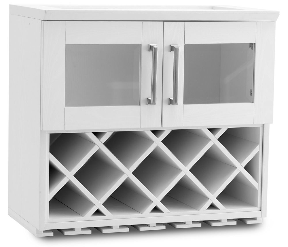 NewAge Products Home Bar 24  Inch W x 13.5  Inch D Wall Wine Rack White Shaker Style