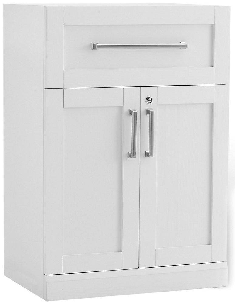 Home Bar 24-inch W x 16-inch D 2-Door Cabinet White Shaker Style