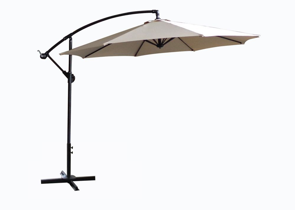 Offset Patio Umbrella With X Base In Taupe