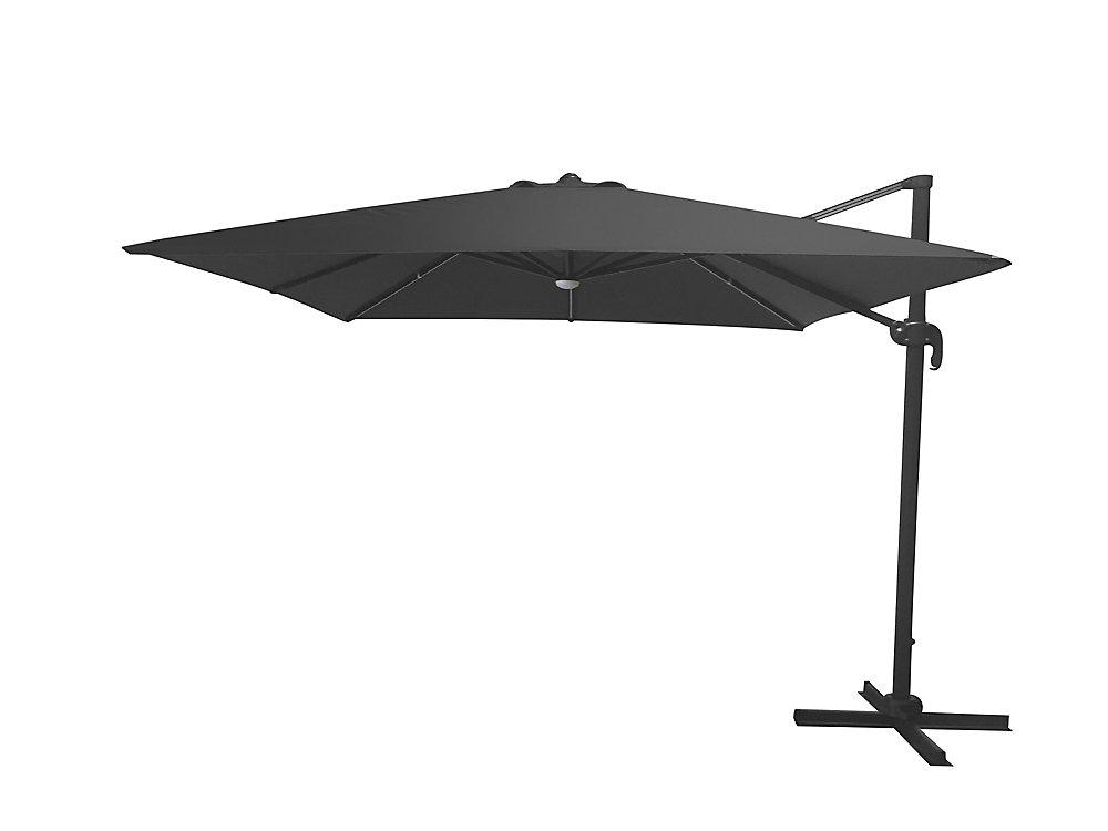 10 ft  LED Square Offset Patio Umbrella with X-Base, Graphite