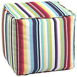 Hampton Bay Carnival Square Patio Pouf Cushion in Multi-Colour Stripe
