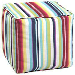 Hampton Bay Pouf carré Carnival Multi Stripe