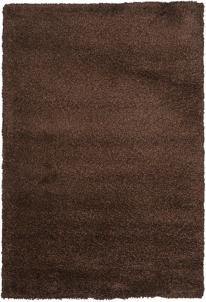 Carpette, 4 pi x 6 pi, à poils longs, rectangulaire, brun California