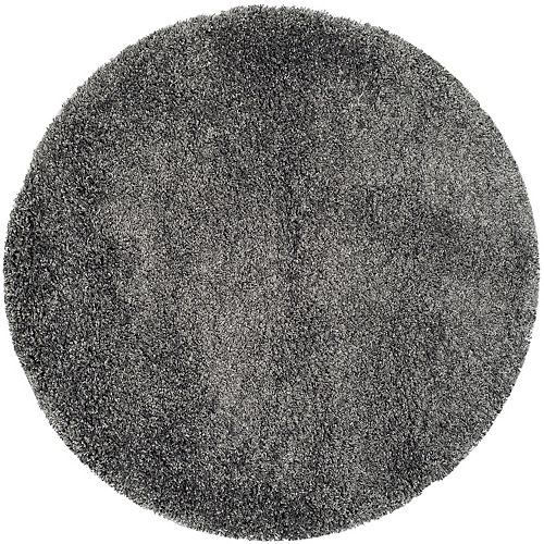 Safavieh Shag Felicia Dark Grey 4 ft. x 4 ft. Indoor Round Area Rug