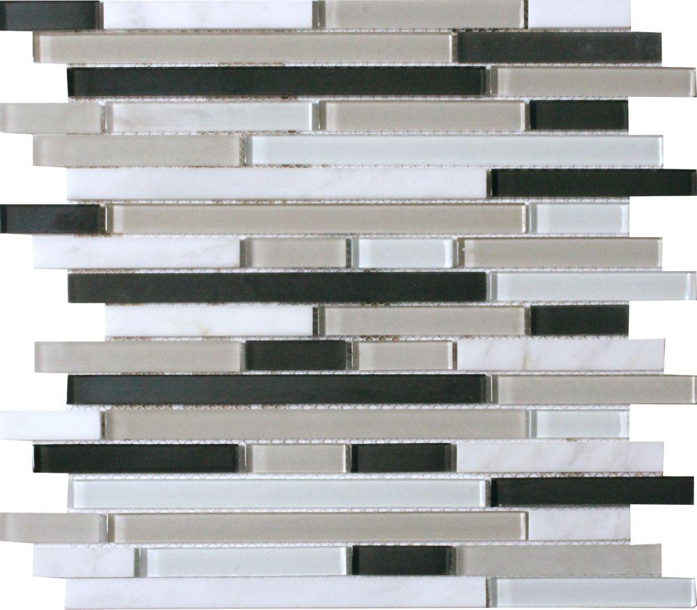 MSI Stone ULC Ivory Palace Interlocking Pattern 12-inch x 12-inch x 6mm Glass Stone Mesh Mounted Mosaic Tile