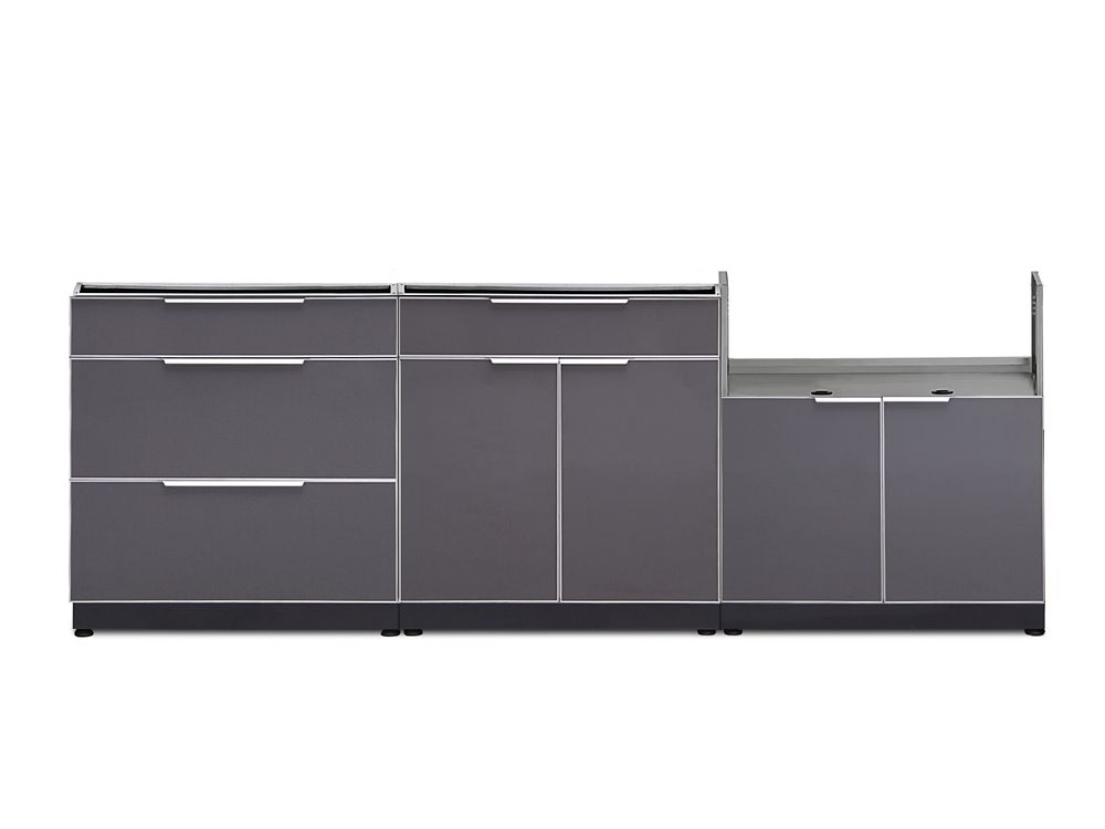 NewAge Products Outdoor Kitchen 97In W x 24In D 3 PC Aluminum Slate