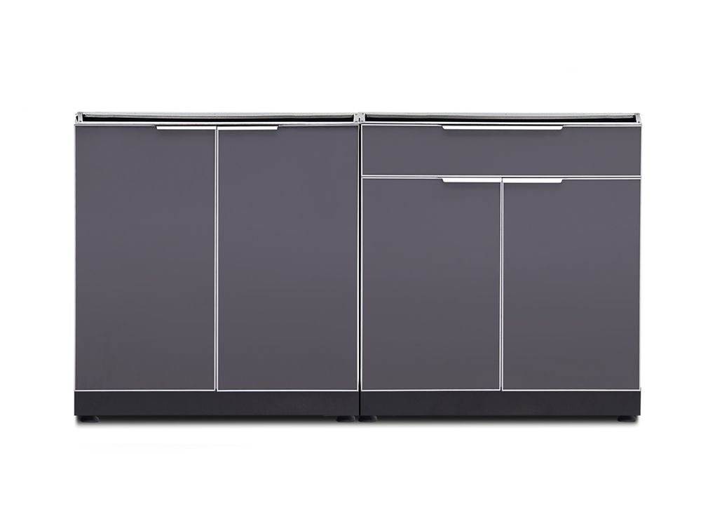 NewAge Products 64-inch W x 24-inch D 2-Piece Aluminum Outdoor Kitchen in Slate