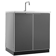 Aluminum Slate 32-inch Sink 32x35x24-inch Outdoor Kitchen Cabinet