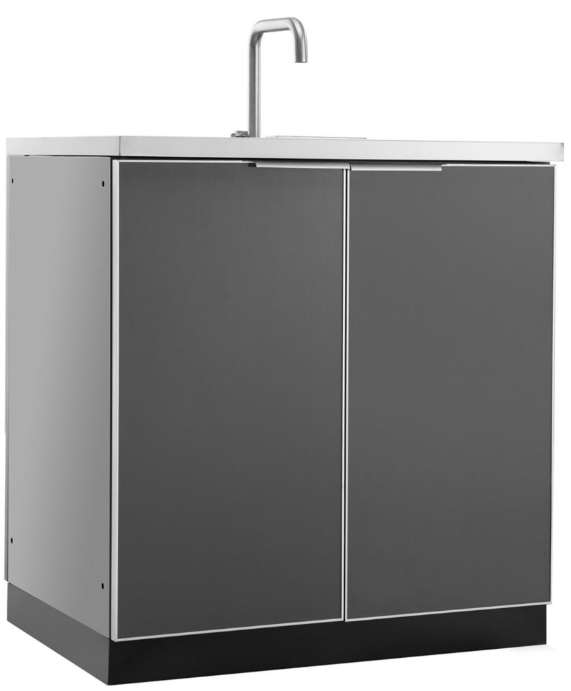 NewAge Products Aluminum Slate 32-inch Sink 32x35x24-inch Outdoor Kitchen Cabinet