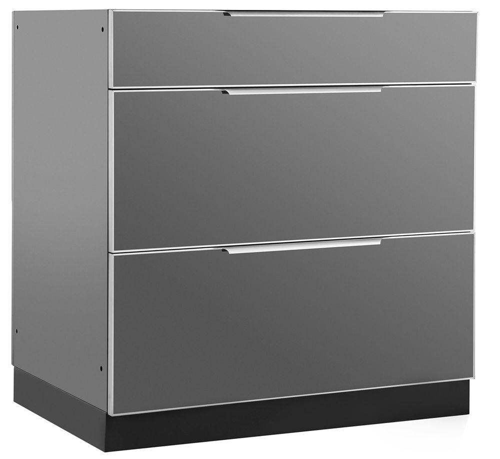 Outdoor Kitchen 3-Drawer Cabinet Aluminum Slate