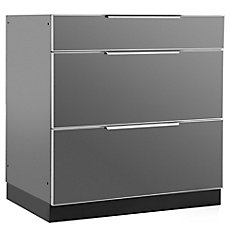Aluminum Slate 32-inch 3 Drawer 32x33.5x23-inch Outdoor Kitchen Cabinet