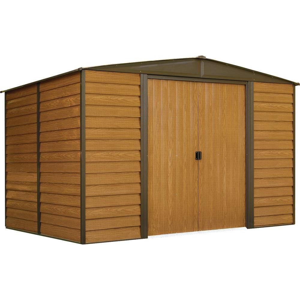 Woodridge,3x2,4, acier électrogalvanisé, couleur café / grain de bois, versant bas