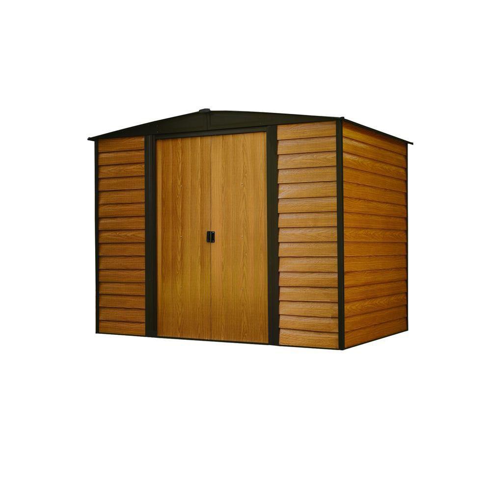 Woodridge,2,4x1,8, acier électrogalvanisé, couleur café / grain de bois, versant bas