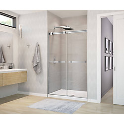 Duel Frameless Sliding Shower Door 44 to 47  Inch  x 70.5  Inch  Chrome