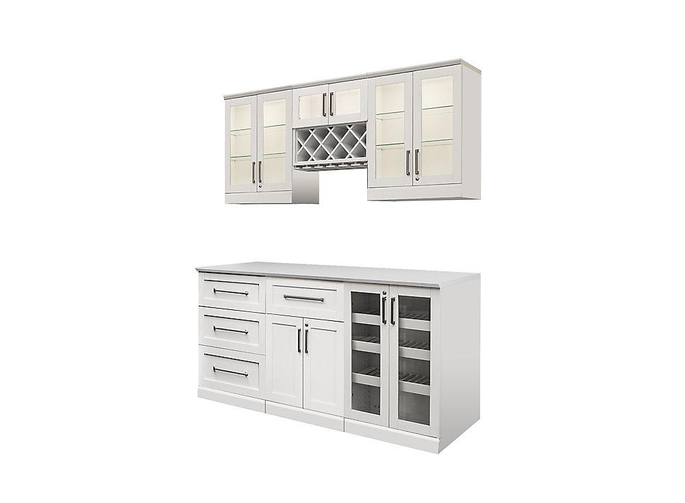 NewAge Products Bar de maison 72po (L) x 24po (l) 7éléments Style Shaker blanc