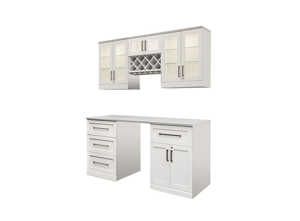 NewAge Products Home Bar 72  Inch W x 24  Inch D 6 PC White Shaker Style