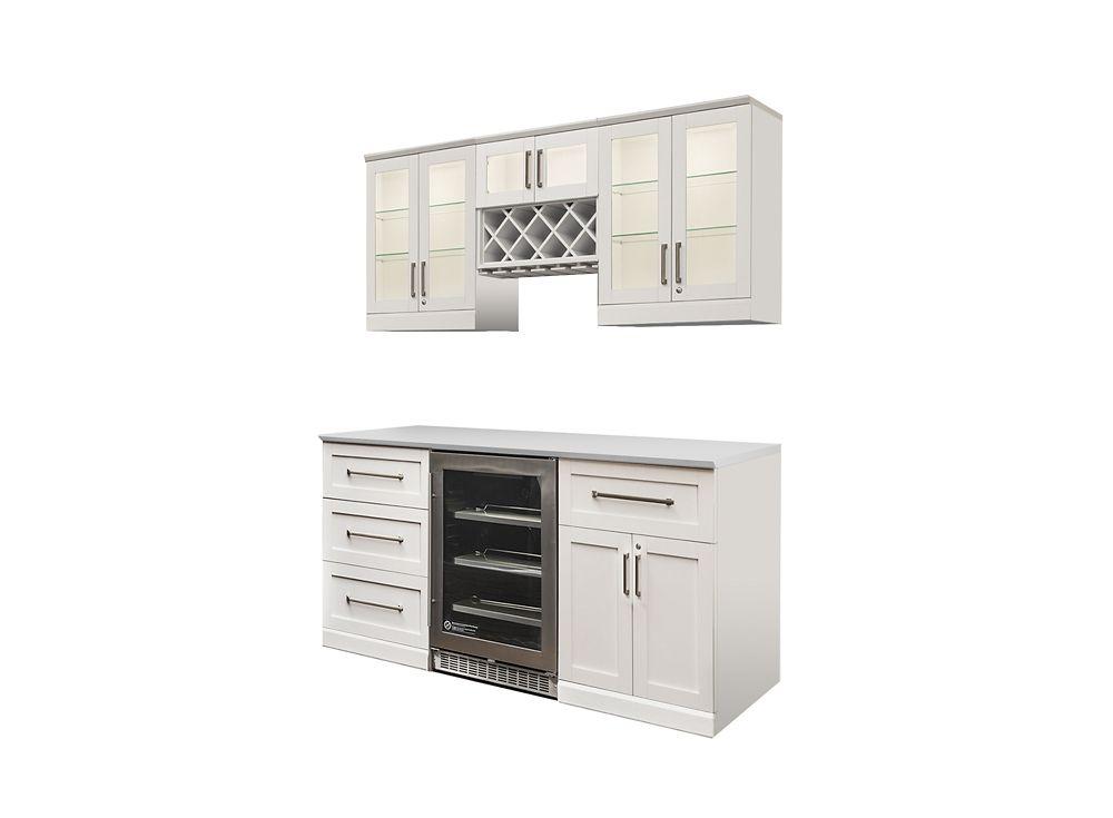 NewAge Products Bar de maison 72po (L) x 16po (l) 7éléments Style Shaker blanc