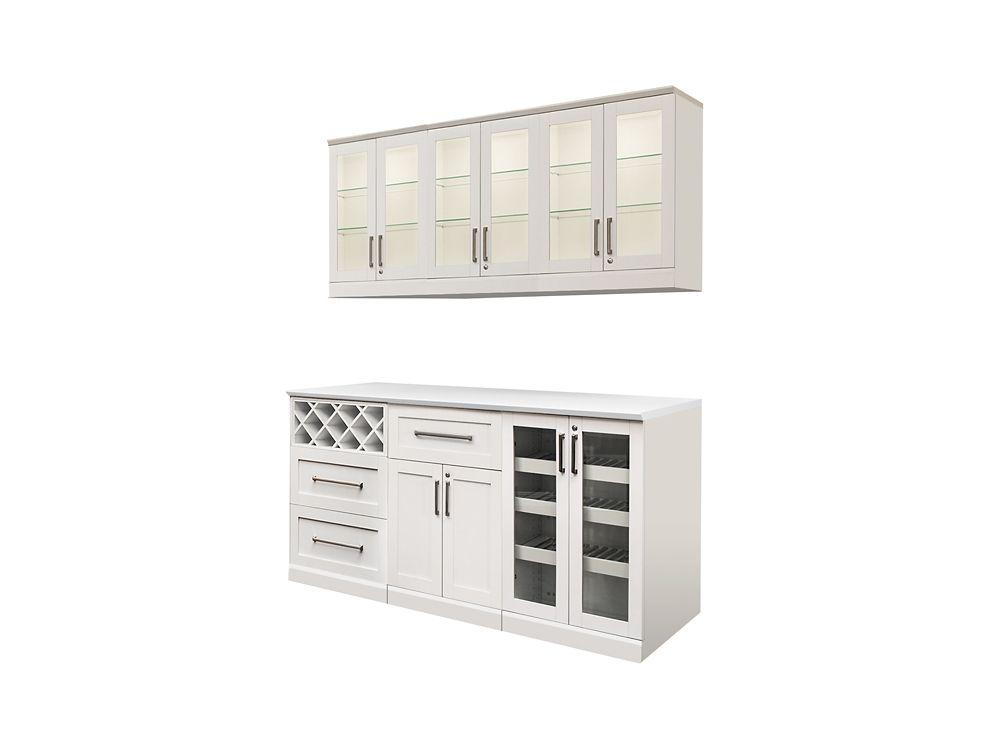 NewAge Products Bar de maison 96po (L) x 24po (l) 9éléments Style Shaker blanc