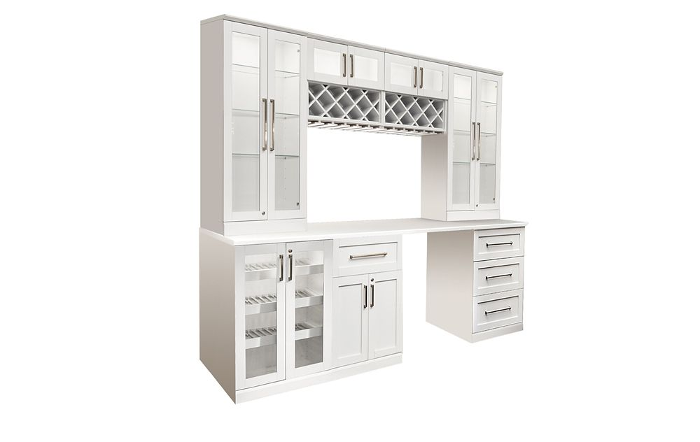 NewAge Products Home Bar 96  Inch W x 24  Inch D 8 PC White Shaker Style
