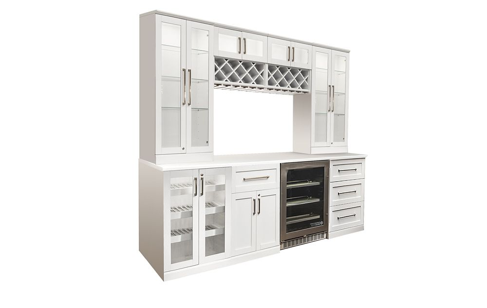 NewAge Products Home Bar 96  Inch W x 24  Inch D 9 PC White Shaker Style