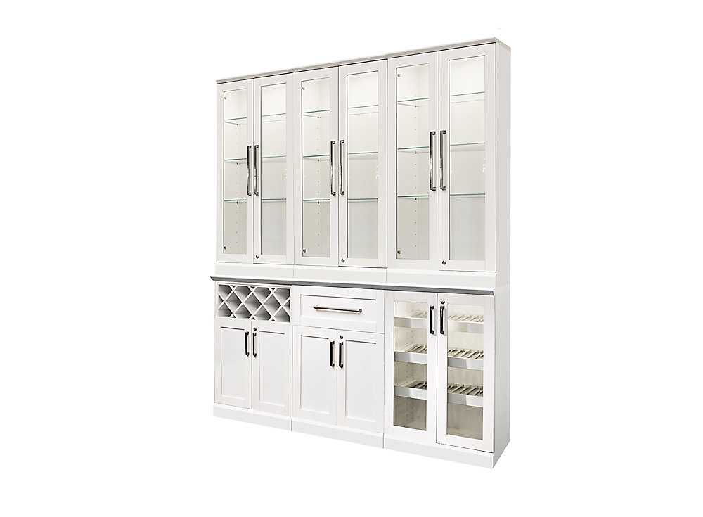 7-Piece Modular Shaker-Style Home Bar with 3 Tall Wall Cabinets in White