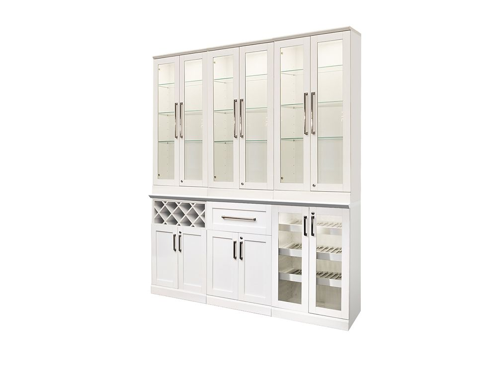 NewAge Products Home Bar 72  Inch W x 16  Inch D 7 PC White Shaker Style