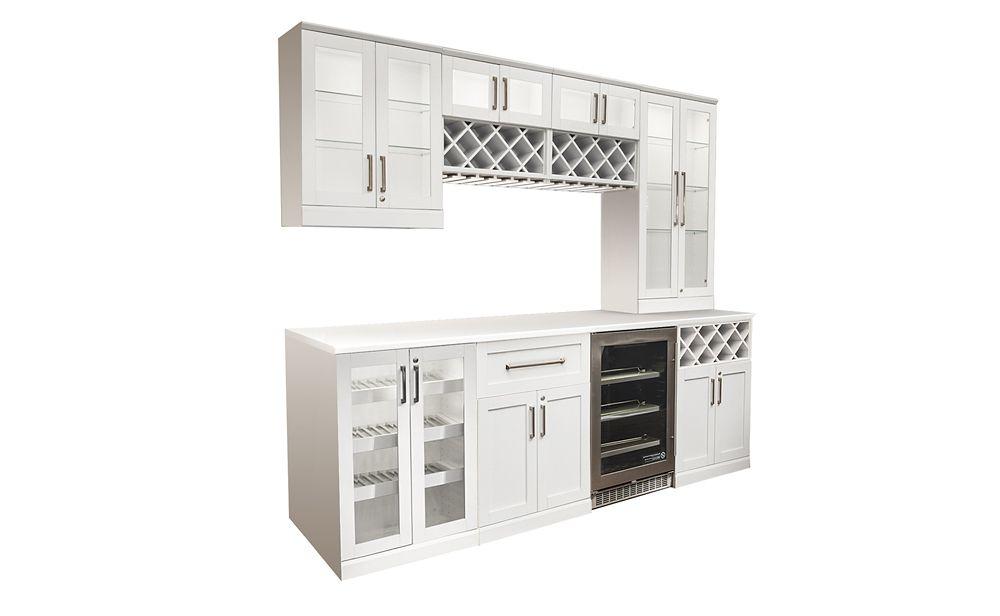 NewAge Products Home Bar WHT 9 PC 2xWR, SW, U, 24  Inch  S, 24  Inch  BCB, 24  Inch DB, 25X96  In...