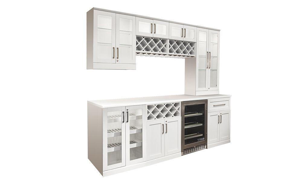 NewAge Products Bar de maison 12 éléments Îlot Style Shaker blanc