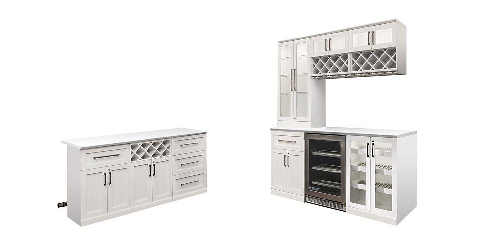 NewAge Products Bar de maison 14 éléments Îlot Style Shaker blanc