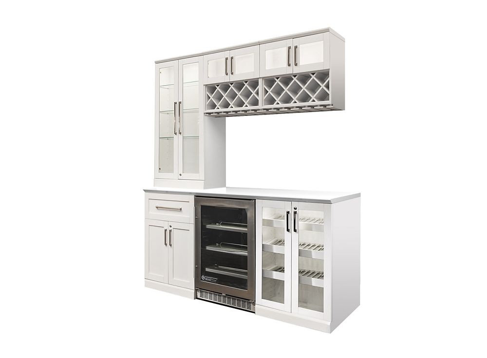 Home Bar 72 Inch W X 24 Inch D 7 PC White Shaker Style