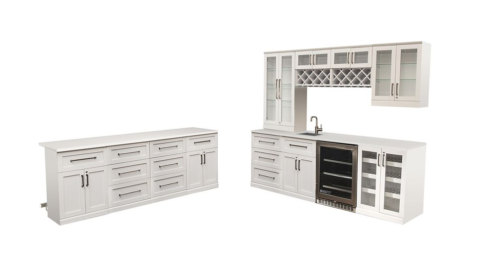 NewAge Products Home Bar 14 PC Island White Shaker Style