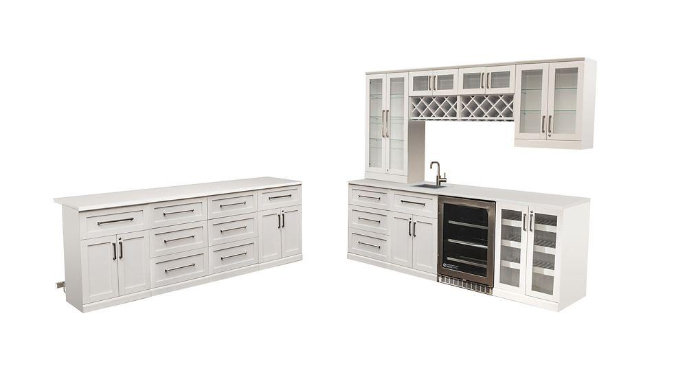 NewAge Products Bar de maison 24po (L) x 24po (l) Vitrine Style Shaker blanc
