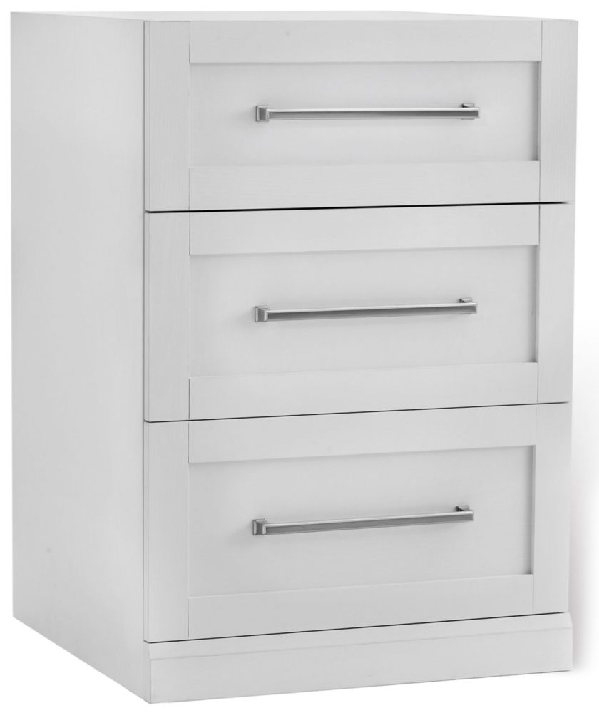 NewAge Products Home Bar 24  Inch W x 24  Inch D 3-Drawer Cabinet White Shaker Style