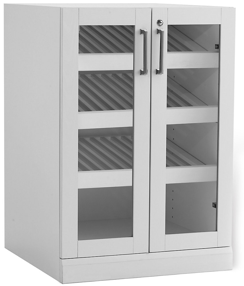 Home Bar 24 pouces L x 24 pouces D Armoire d'exposition style shaker blanc