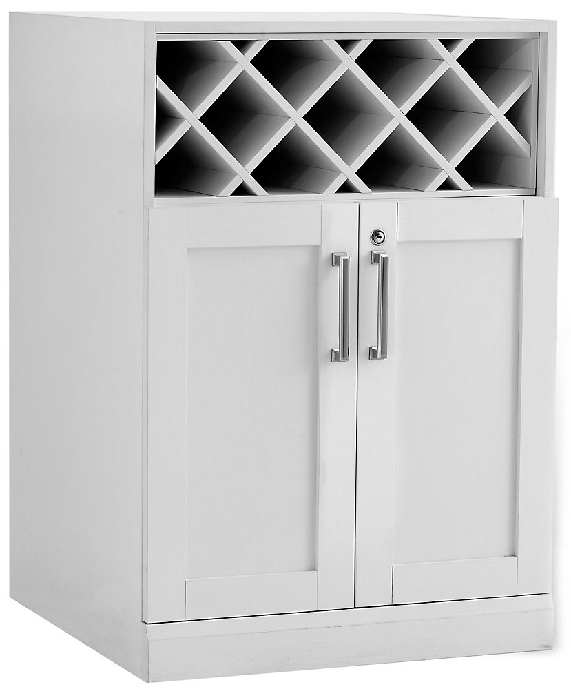 34.75-inch x 24-inch x 24.5-inch 22-Bottle Shaker Style Wine Storage Bar in White