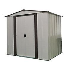 Remise Newburgh, 1,8x1,5, acier électrogalvanisé, couleur café / coquille d'œuf, toit à versants bas