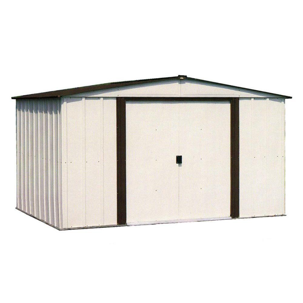 Remise Newburgh, 2,4x1,8, acier électrogalvanisé, couleur café / coquille d'�uf, toit à versants ...