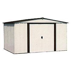 Remise Newburgh, 2,4x1,8, acier électrogalvanisé, couleur café / coquille d'œuf, toit à versants bas