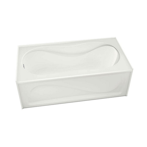 Cocoon 60 Inch x 30 Inch IFS White Soaker Bathtub with Left Drain