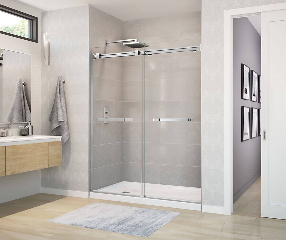 Duel Frameless Sliding Shower Door 56 to 59  Inch  x 70.5  Inch  Chrome