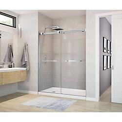 Duel Frameless Sliding Shower Door 56 to 59  Inch  x 70.5  Inch  Chrome