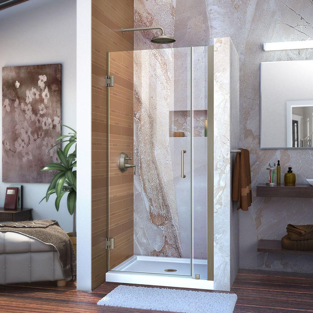 Unidoor 33 to 34 Inch x 72 Inch Semi-Framed Hinged Shower Door in Brushed Nickel