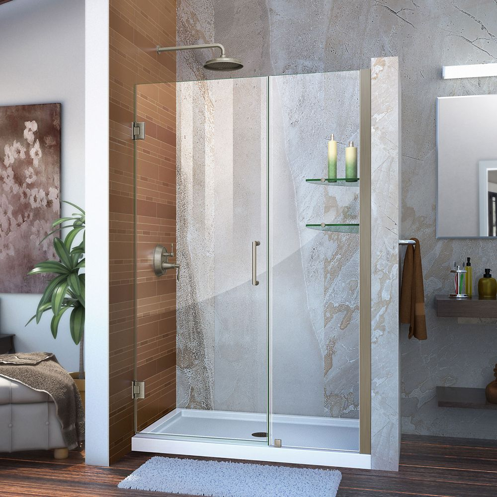 Unidoor 45-inch to 46-inch x 72-inch Frameless Hinged Pivot Shower Door in Brushed Nickel with Handle