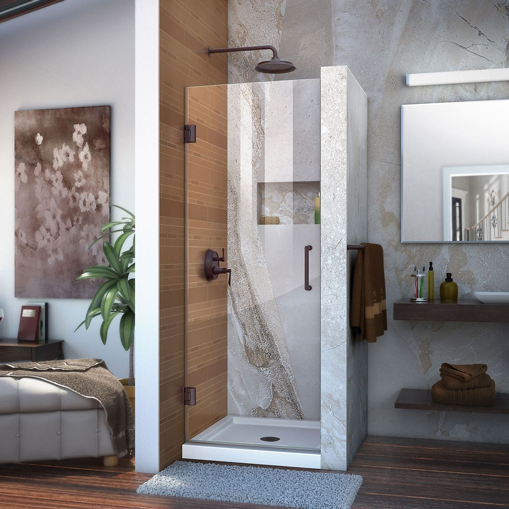 Unidoor 28-inch x 72-inch Frameless Hinged Pivot Shower Door in Oil Rubbed Bronze with Handle
